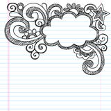 Cloud Frame Border Sketchy Doodle Vector Illustrat. Cloud Frame Border Back to School Sketchy Notebook Doodles- Vector Illustration Design on Lined Sketchbook Stock Photos