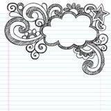 Cloud Frame Border Sketchy Doodle Vector Illustrat. Cloud Frame Border Back to School Sketchy Notebook Doodles- Vector Illustration Design on Lined Sketchbook vector illustration