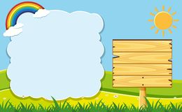 Cloud frame and wooden board in garden. Illustration Royalty Free Stock Images
