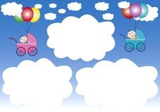 Cloud-frames and balloons Royalty Free Stock Photos