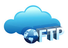 Cloud with ftp text sing. Illustration design over white Royalty Free Stock Images
