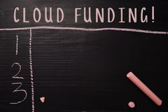 Cloud Funding! written with color chalk. Supported by an additional services. Blackboard concept stock photography