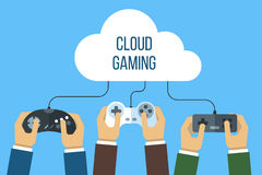 Cloud gaming concept. Hands holding joysticks connected to the cloud. Flat style royalty free illustration