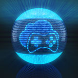 Cloud gaming icon. On globe formed by binary code, 3d render Stock Photo