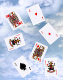 Cloud gaming with playing cards Royalty Free Stock Images