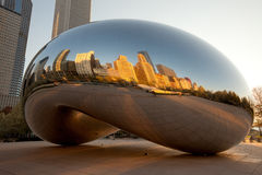 Cloud Gate. Michigan Avenue skyline reflected on Cloud Gate, a public sculpture created by artist Anish Kapoor.   AT&T plaza at Millenium park, Chicago, Illinois Royalty Free Stock Image