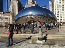 "Cloud Gate The Bean"" in Millenium Park, Chicago, IL. Cloud Gate sculpture royalty free stock image"