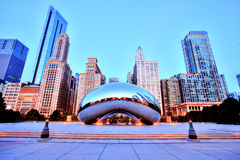 Cloud Gate - The Bean in Millennium Park at Sunrise, Chicago Stock Photo