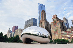 Cloud Gate in Chicago. CHICAGO, IL - Oct 6: Cloud Gate and Chicago skyline on October 6, 2011 in Chicago, Illinois. Cloud Gate is the artwork of Anish Kapoor as Royalty Free Stock Photos