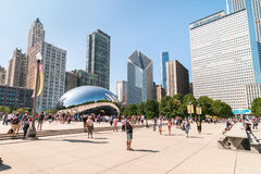 Cloud Gate at at Chicago Millennium Park. Chicago, IL, United States - August 15, 2014: Cloud Gate, one of the most unique and interesting sculptures in decades Stock Photography