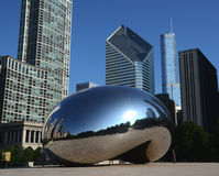Cloud Gate, with Crain and Trump buildings Royalty Free Stock Images