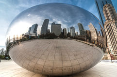 The Cloud gate  (a.k.a. the bean chicago). Crowdless at the cloud gate at millenium park Chicago Royalty Free Stock Image
