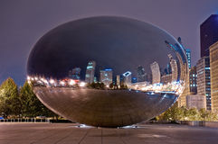 Cloud Gate at Night. Night shot of the Cloud Gate (aka the Bean) in the Millennium Park in Chicago. No people are present on the photo. HDR made from 3 different Stock Photo