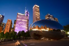 Cloud Gate Sculpture in Chicago, Illinois stock images