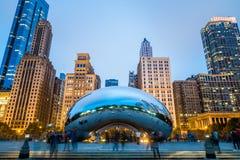 Cloud Gate sculpture in Millenium Park. Chicago, IL USA October 16, 2016: Cloud Gate sculpture in Millenium Park Stock Images