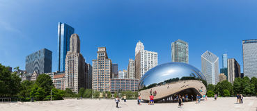 Cloud Gate sculpture in Millenium park. Chicago, Illinois, USA - June 14, 2016. Cloud Gate sculpture in Millenium park. One of the most unique and interesting Stock Image