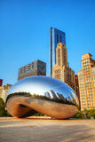 Cloud Gate sculpture in Millenium Park Stock Images