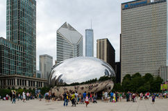 Cloud gate and tourists Royalty Free Stock Photo