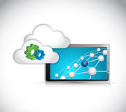 cloud gear tablet network connection Stock Image