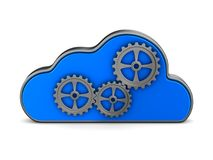 Cloud and gear on white background. Isolated 3D illustration.  Royalty Free Stock Photography