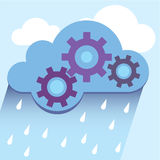 Cloud gears rain vector Royalty Free Stock Image