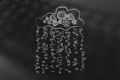 Cloud with gearwheel mechanism annd binary code rain Stock Photography