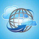 Cloud and global with arrow Royalty Free Stock Images