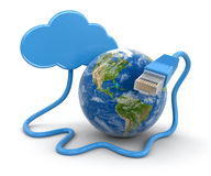 Cloud, Globe and computer cable (clipping path included) Stock Photography