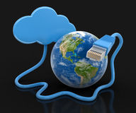 Cloud, Globe and computer cable (clipping path included) Royalty Free Stock Images