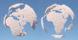 Cloud globe, Europe and africa. On blue Royalty Free Stock Photo