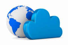 Cloud and globe on white background Royalty Free Stock Photo