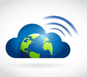 Cloud globe and wifi signal sign Stock Photo