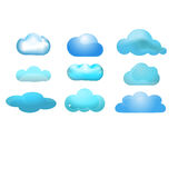 Cloud glossy icon set of 9 (Cloud computing concep Royalty Free Stock Image