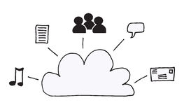 Cloud Graphic. Doodle representation of the concept of cloud computing and the information stored there Vector Illustration