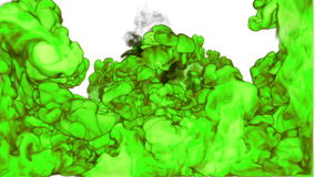 Cloud of green Ink underwater or smoke with alpha mask. Use for transitions, background, overlay and effects. 3d VFX Ink stock footage