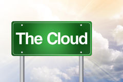 The Cloud Green Road Sign Stock Photo
