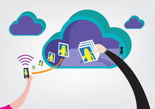 Cloud Hacking concept vector. Hand steals photos from user. Hacker steals photos from cloud storage with pictures taken from mobile phones. Vector and Raster stock illustration