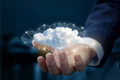 Cloud in the hand of businessman. The concept of cloud service Royalty Free Stock Photography