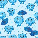 Cloud happy cute blue seamless pattern Royalty Free Stock Photo