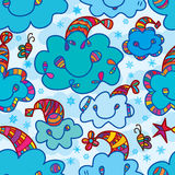 Cloud happy Merry Christmas bee seamless pattern. Illustration drawing abstract blue color cloud decor hat colorful seamless pattern bee sing the Merry Christmas Vector Illustration