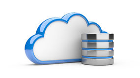 Cloud with hdd, database concept vector illustration
