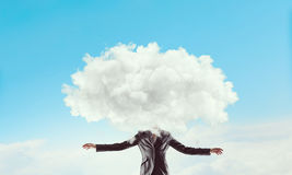 Cloud headed woman . Mixed media Stock Photography