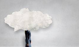 Cloud headed woman . Mixed media Stock Photo