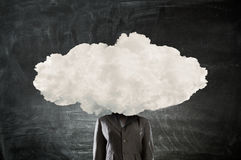 Cloud headed woman . Mixed media Royalty Free Stock Photos