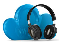 Cloud and headphone on white background Royalty Free Stock Photography