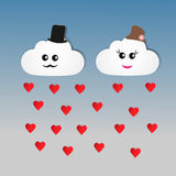 Cloud with heart paper cut Stock Image