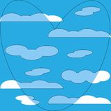 Blue heart in white clouds pattern background royalty free illustration