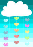 Heart drops rain cloud greeting card. Cloud with heart rain strings. Space to write message on the cloud Stock Photos
