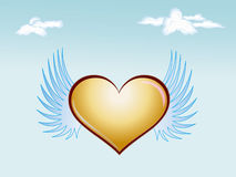 Cloud and heart-shaped. Fly with wings on azure blue background Stock Photo