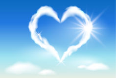 Cloud heart  and  sunshine Stock Photography